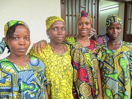 Isatu with friends at Aberdeen Womens Center Sierra Leone